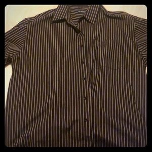 Striped Black and Red Button Up Shirt